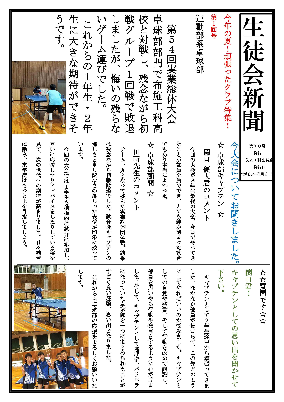 2019年度「水泳部」生徒会新聞 第10号